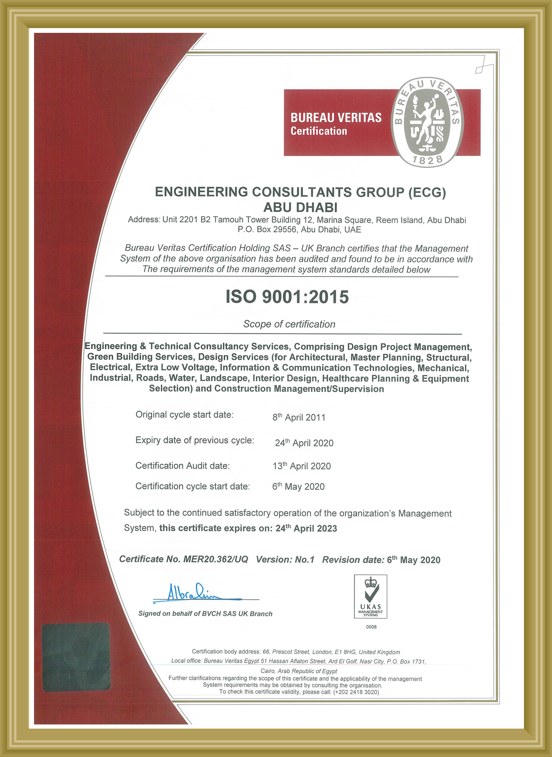 AUH ISO 9001 2015 Certification valid till APR 2023
