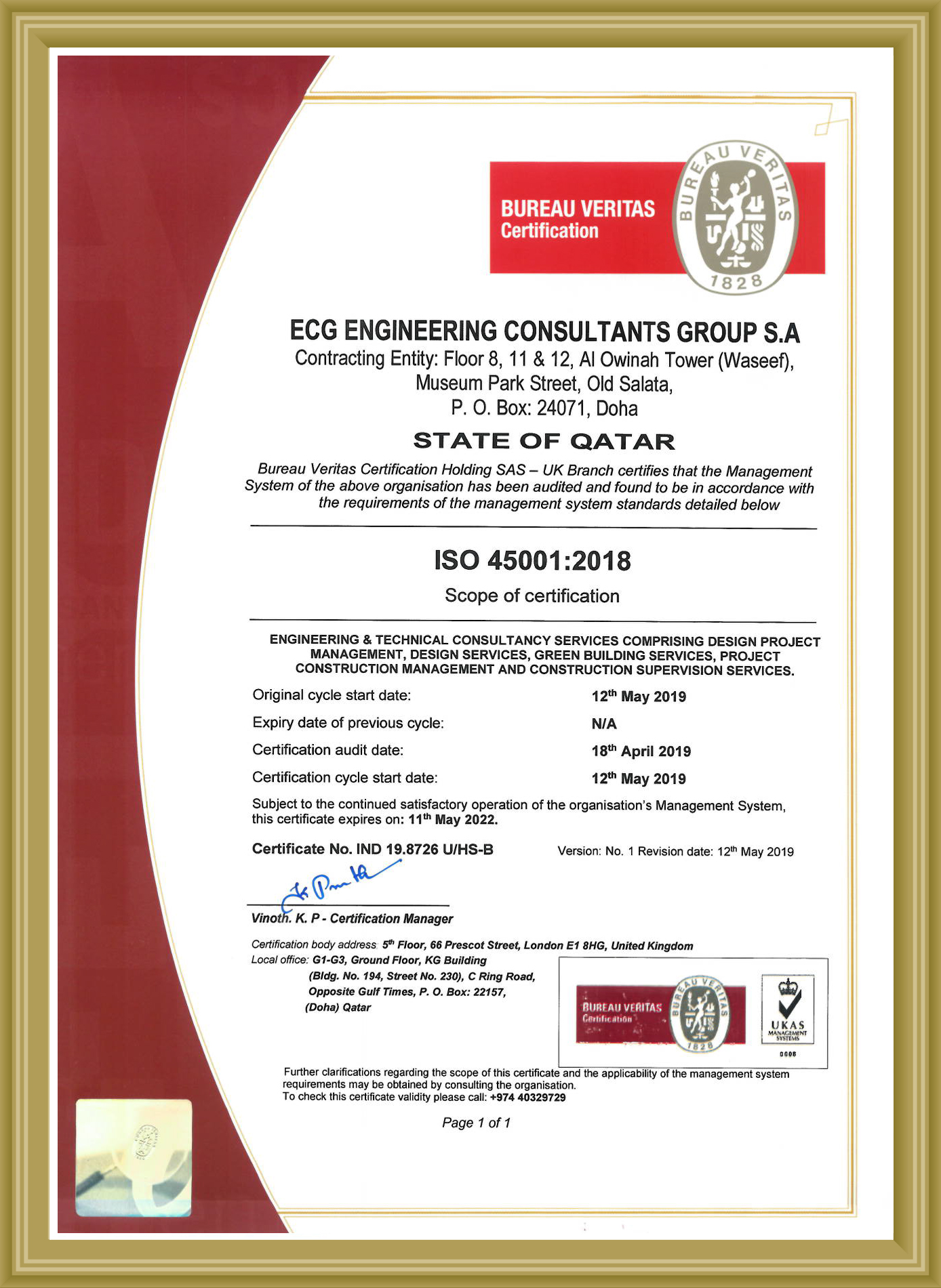 Qatar ISO 45001 - 2018 Certificate - Safety MAY 2022